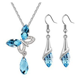 Crystal Butterfly Two-Piece Jewelry Set