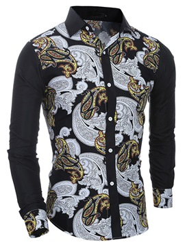 Ericdress Vogue Printed Long Sleeve Slim Men's Shirt