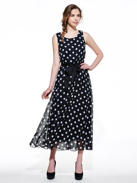 Ericdress Polka Dots Round Neck Maxi Dress