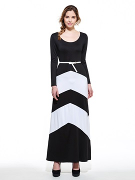 Ericdress Color Block Long Sleeve Maxi Dress