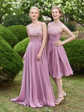 Ericdress Scoop Neck Lace A Line Long Bridesmaid Dress
