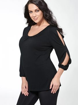 Ericdress Plain V-Neck Backless Plus Size Blouse