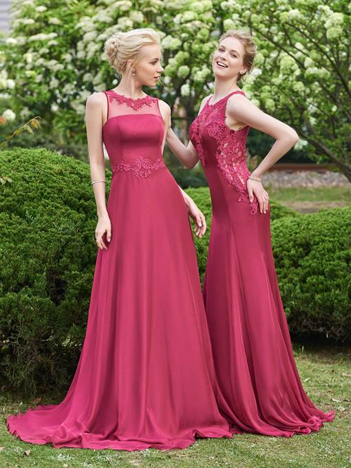 Ericdress Sheer Neck Appliques Bridesmaid Dress