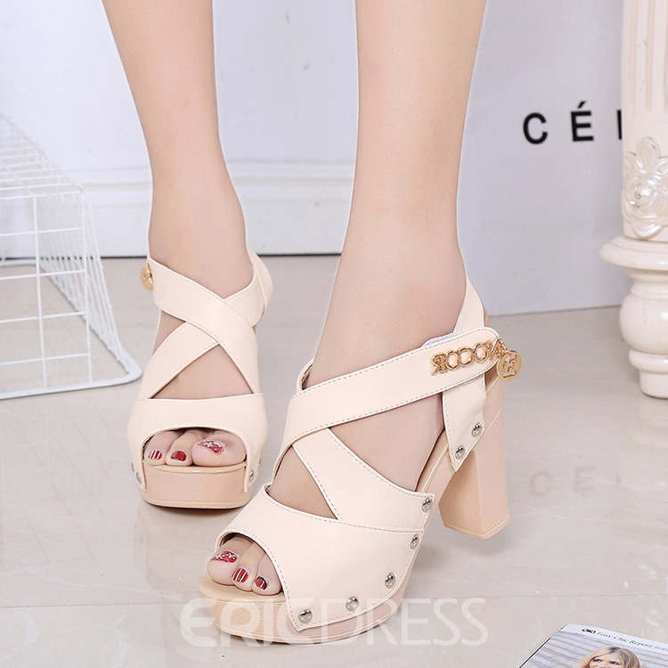 Ericdress Fashion Cross Band Chunky Sandals 12144488