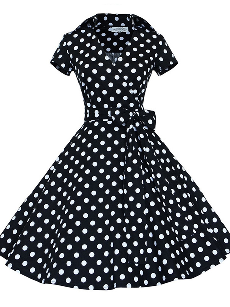 Ericdress_Lapel_Polka_Dots_LaceUp_Womens_A_Line_Dress