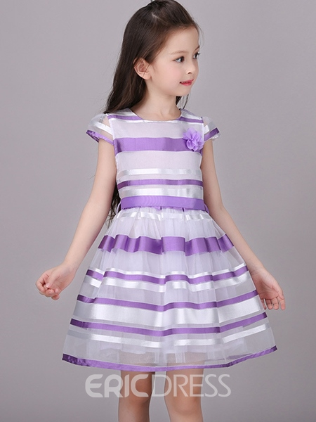 Ericdress Stripe Short Sleeve Girls Dress