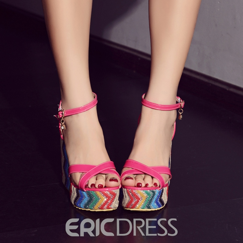Ericdress Color Block Open Toe Platform Wedge Sandals
