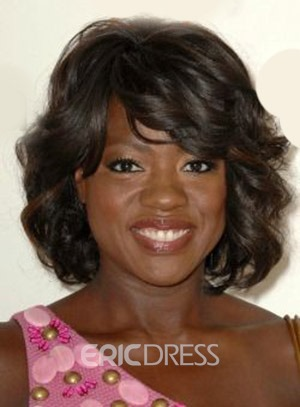 Ericdress Viola Davis Medium Wavy Capless Human Hair Wigs 14 Inches