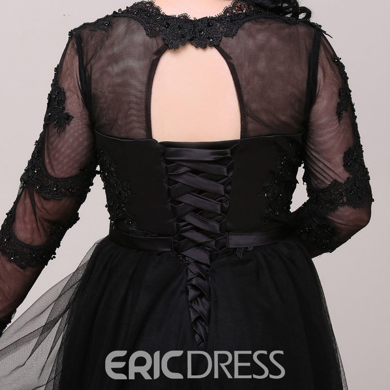 Ericdress Plus Size A-Line Long Sleeves Evening Dress With Appliques And Beading