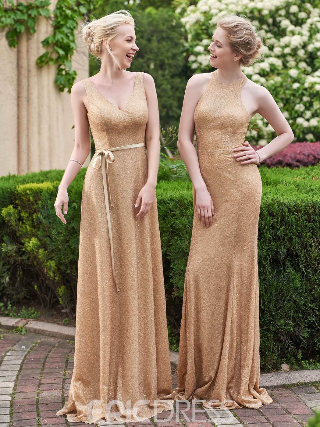 Ericdress Fancy V Neck Sequins Long Bridesmaid Dress