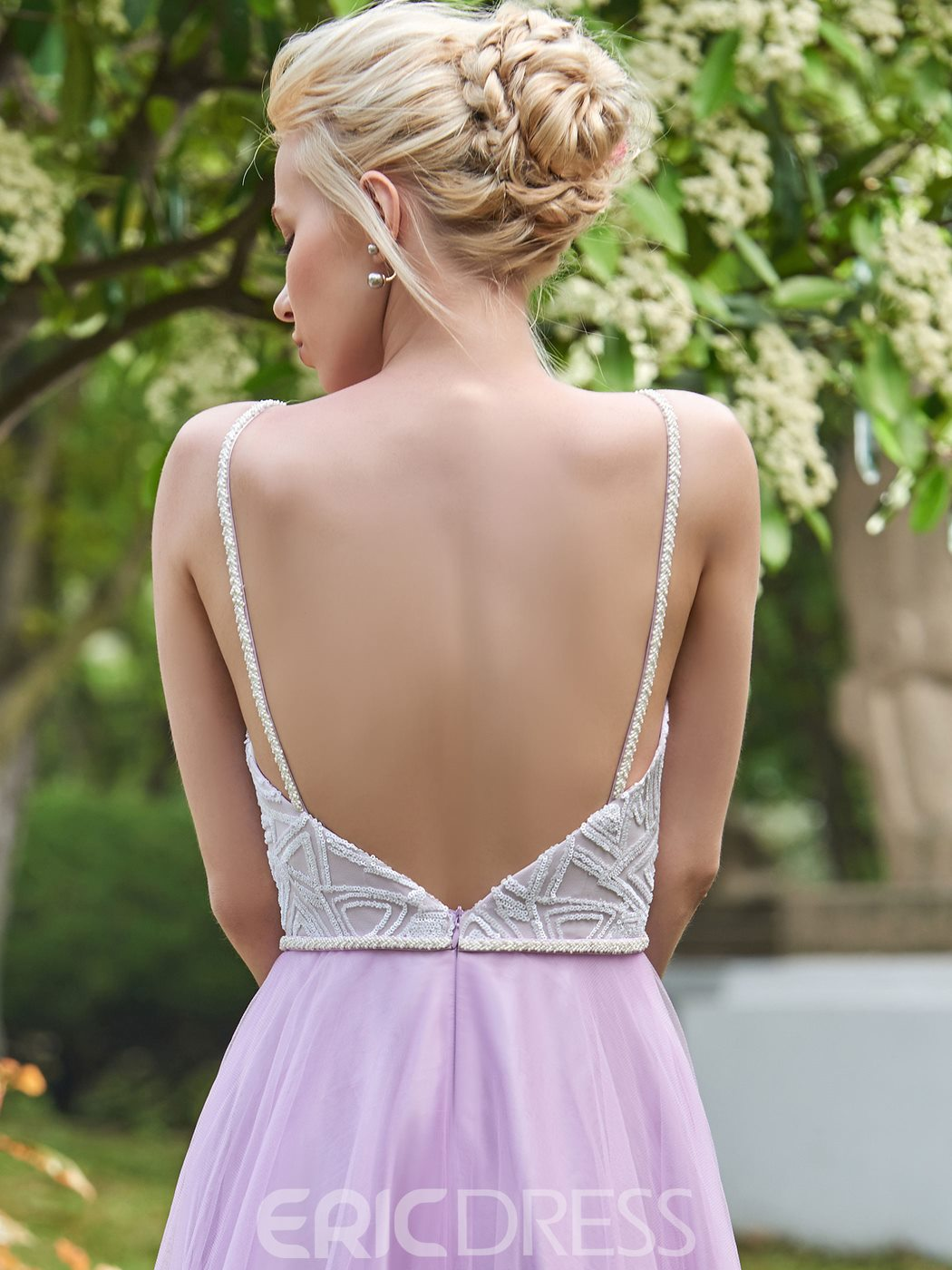 Ericdress Beautiful Spaghetti Straps Backless Long Wedding Dress