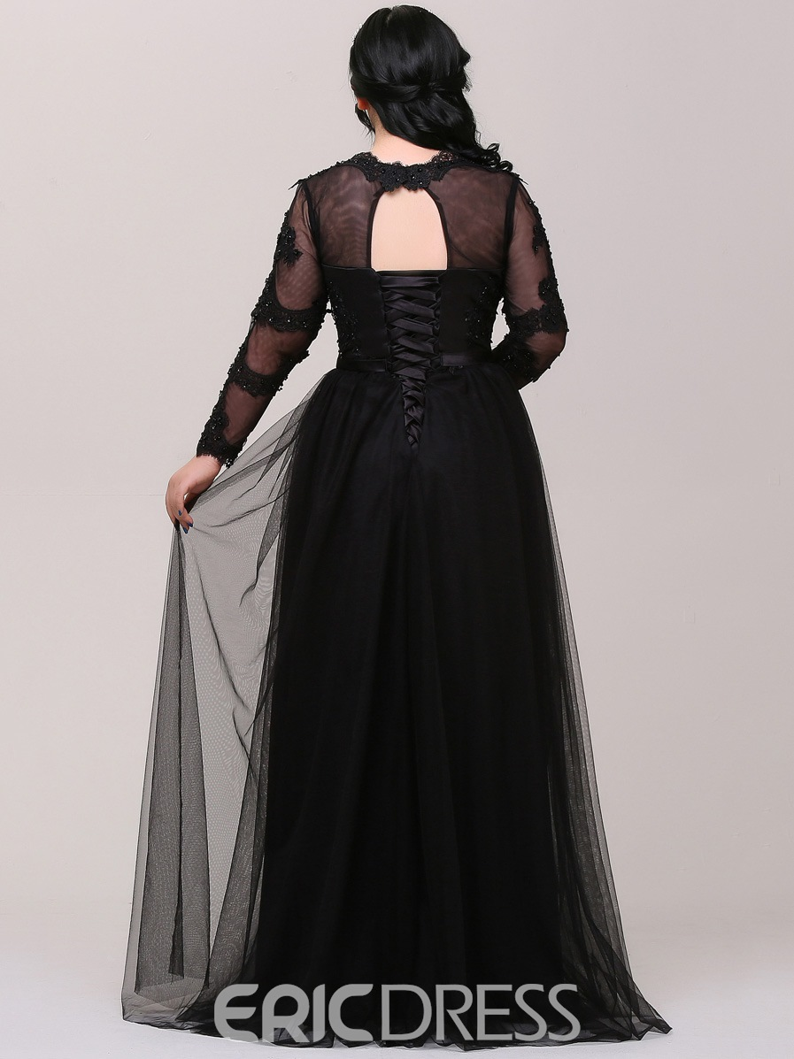 Ericdress Long Sleeves Plus Size Evening Dress with Appliques