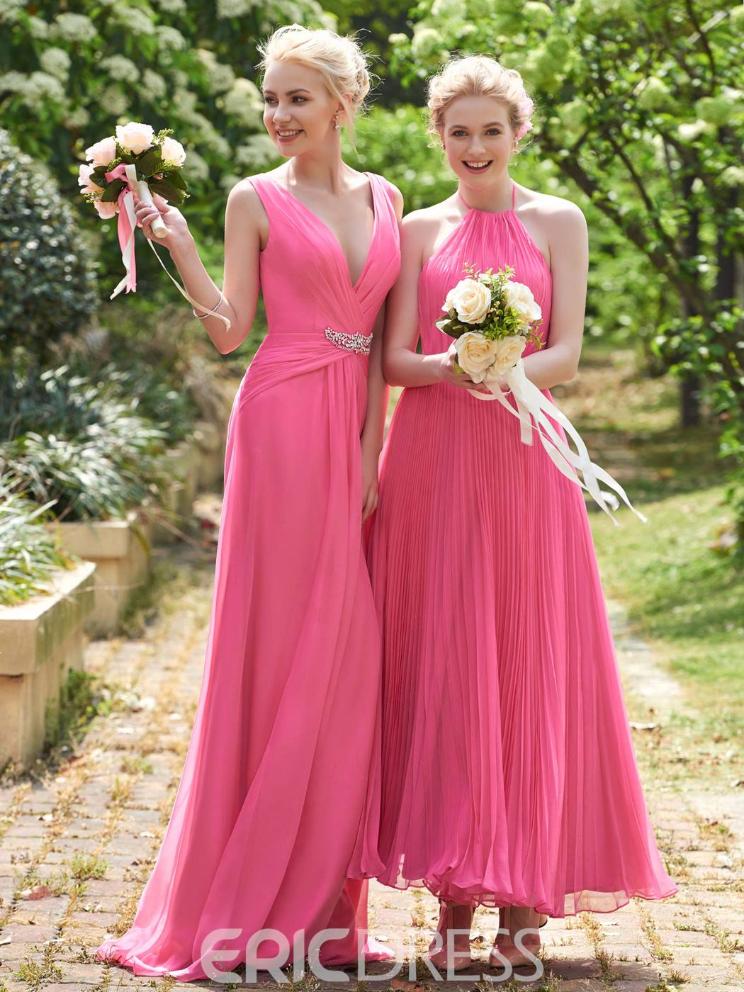 Ericdress Beautiful Halter A Line Ankle Length Bridesmaid Dress