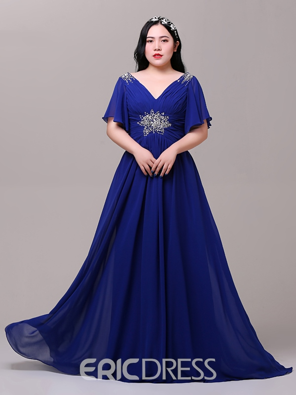 Ericdress A-Line Cap Sleeves Beading Plus Size Evening Dress ...