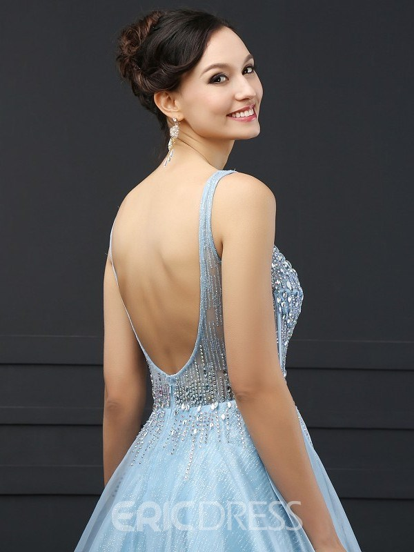 Ericdress A-Line V-Neck Beading Sequins Sweep Train Prom Dress