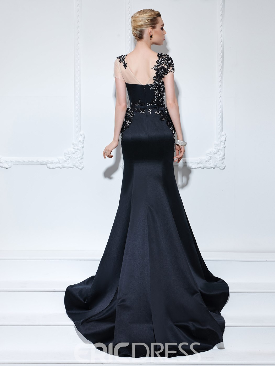 Ericdress Bateau Mermaid Appliques Beading Court Train Evening Dress