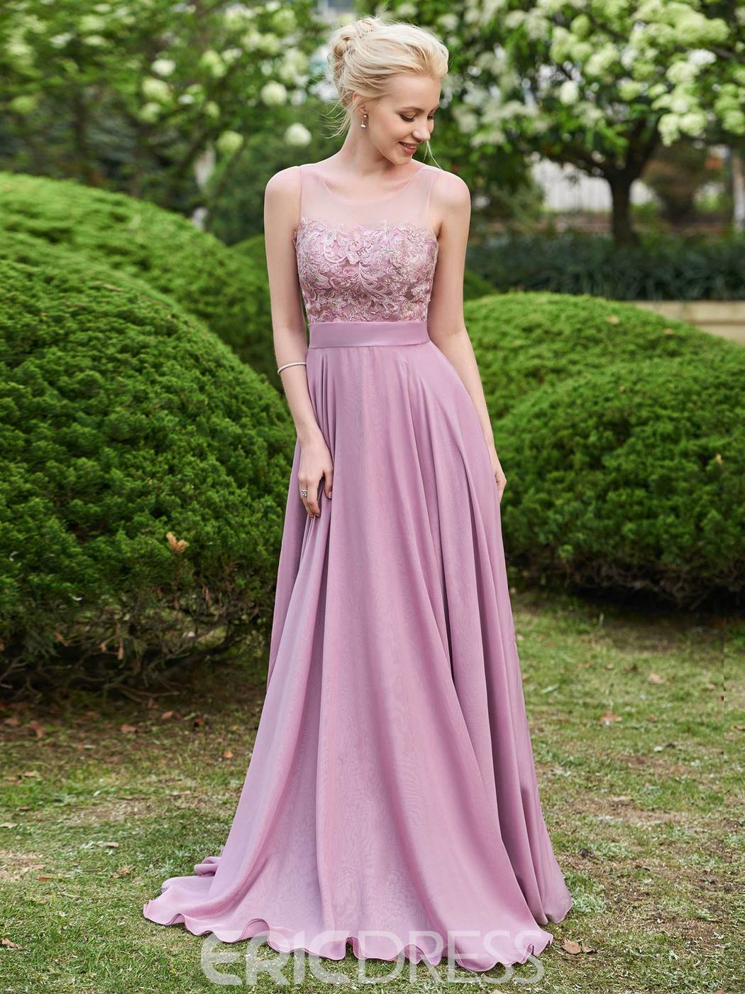 Ericdress Scoop Lace A Line Long Bridesmaid Dress