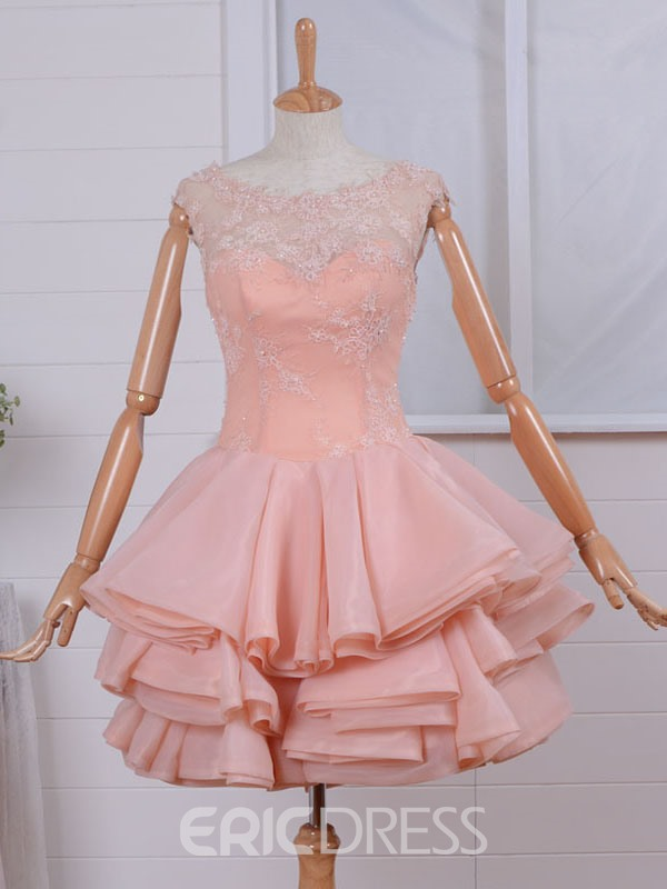 Ericdress A-Line Scoop Cap Sleeves Lace Pearls Short Homecoming Dress