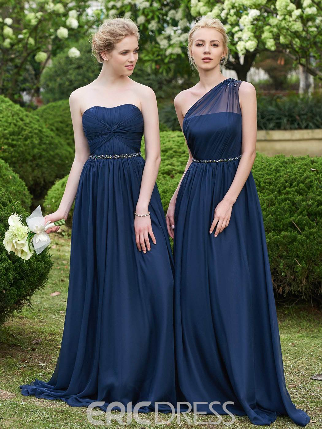Ericdress One Shoulder Long Bridesmaid Dress