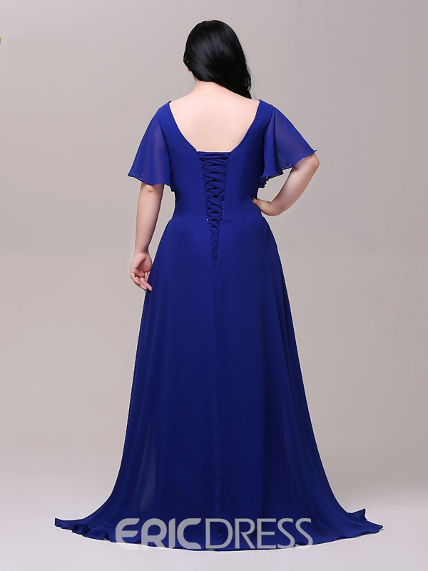 Ericdress Plus Size A-Line Cap Sleeves Beading Evening Dress