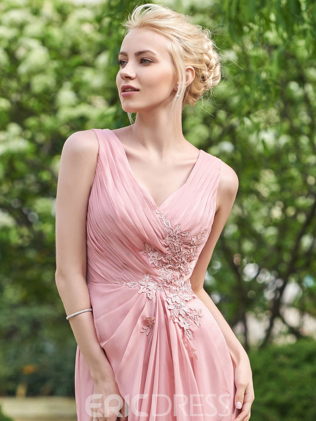 Ericdress Simple V Neck A Line Long Bridesmaid Dress