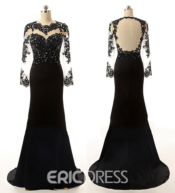 Ericdress Long Sleeves Appliques Beading Mermaid Evening Dress With Court Train