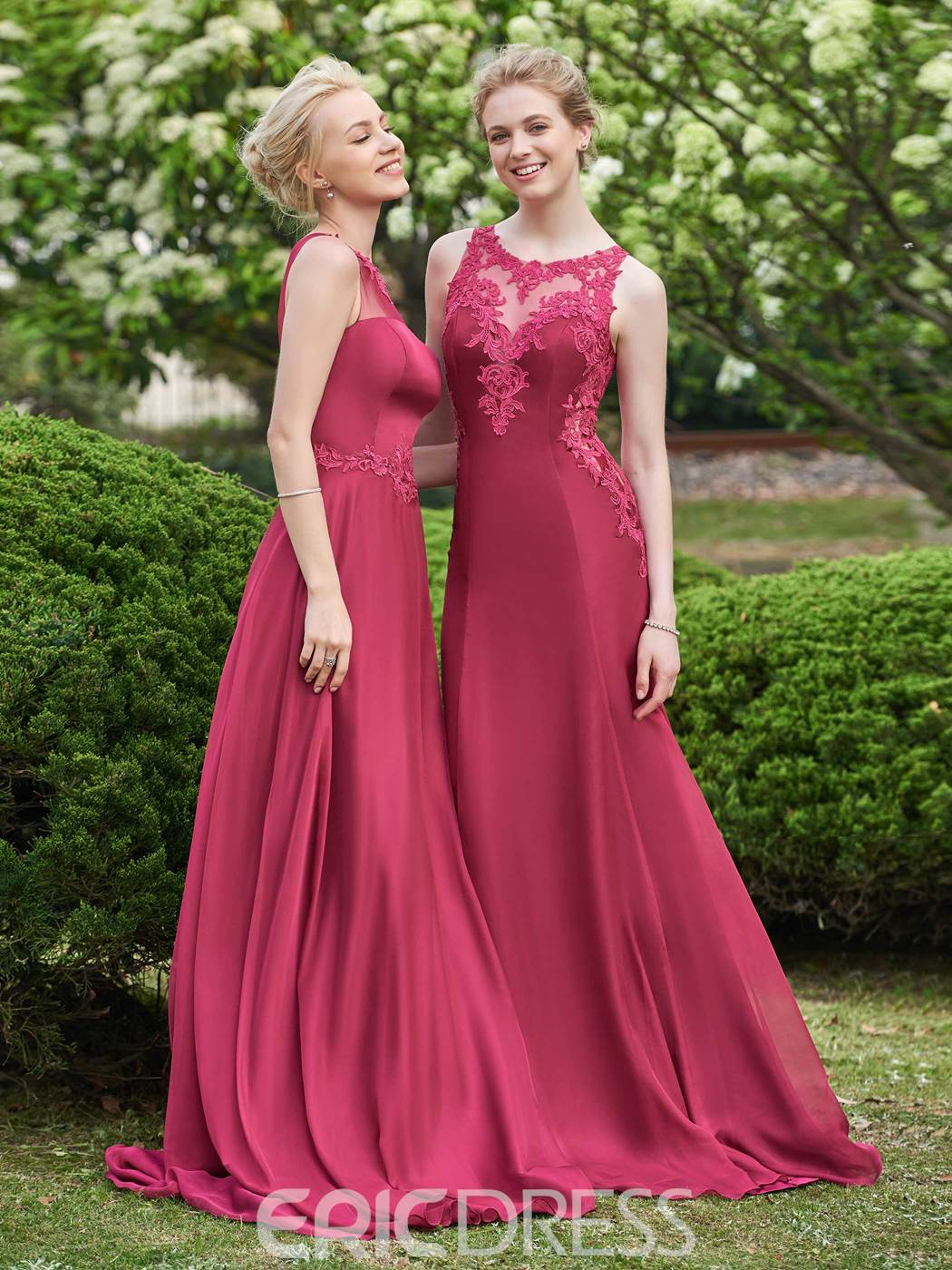 Ericdress Beautiful Illusion Neckline Long Bridesmaid Dress