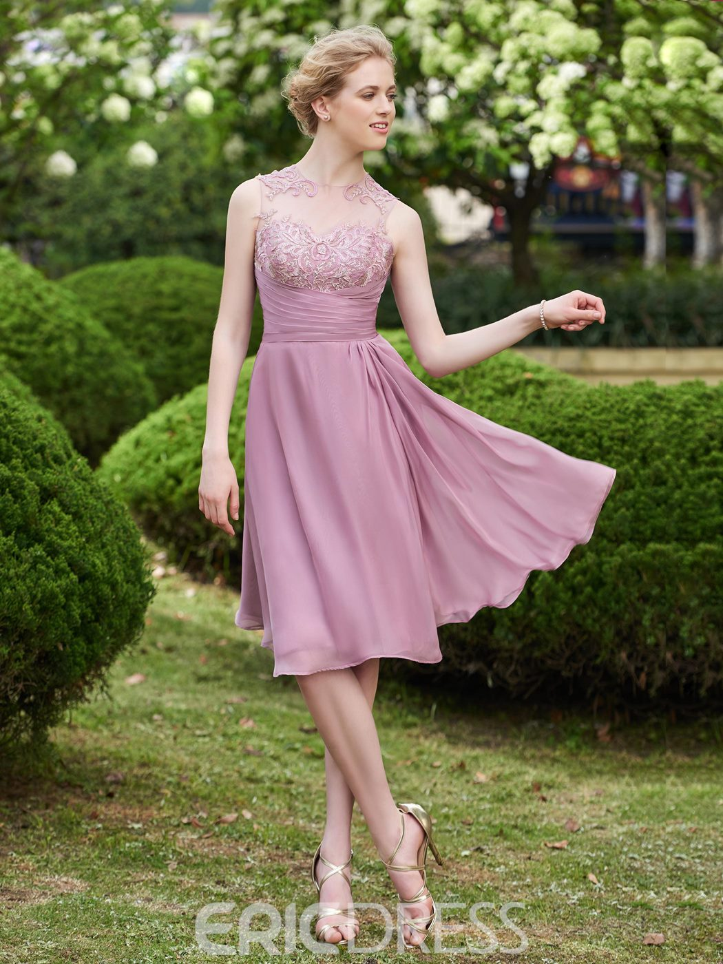 Ericdress Appliques Button Knee Length Bridesmaid Dress