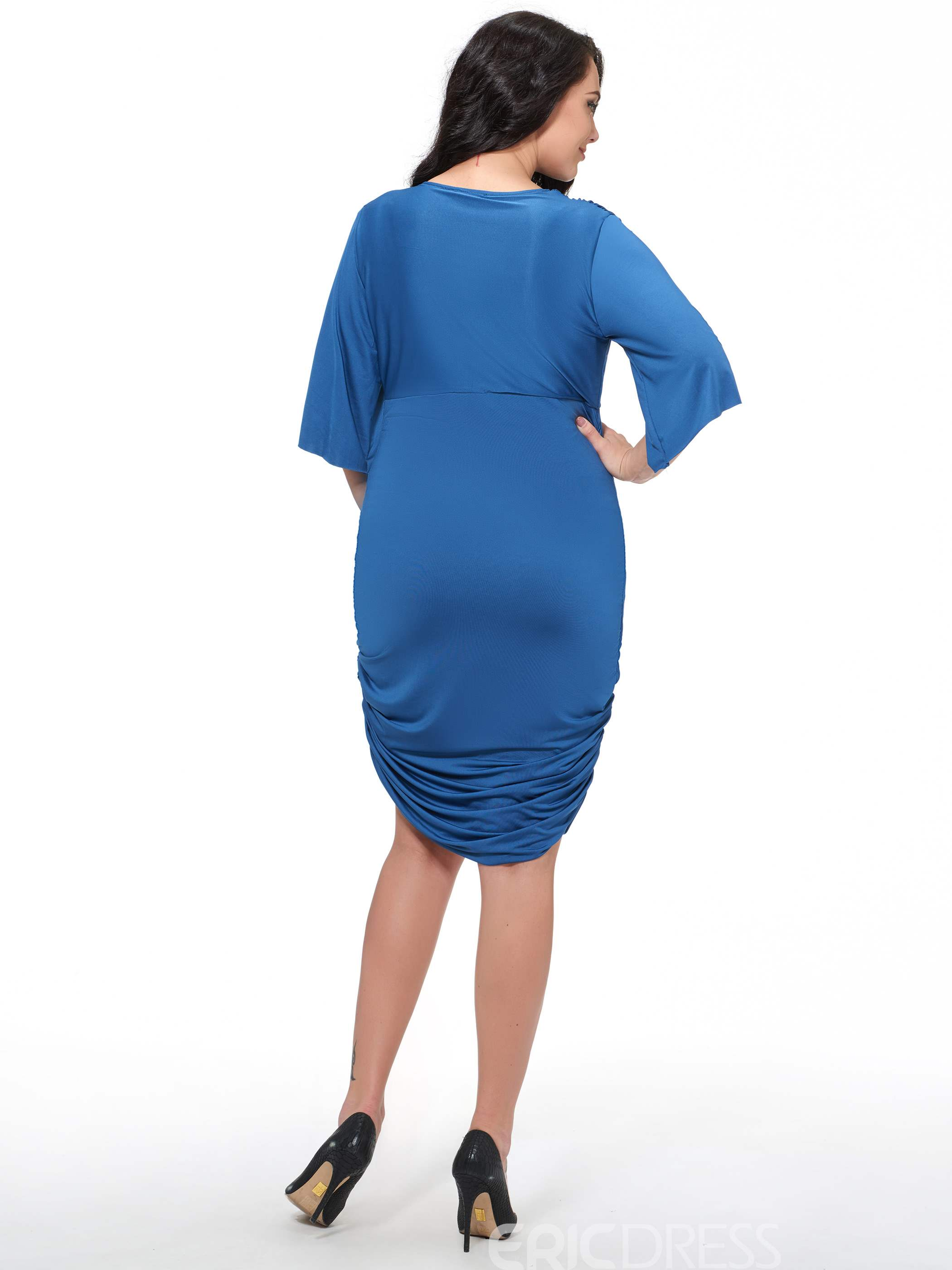 Ericdress Plain V-Neck Short Sleeve Plus Size Sheath Dress