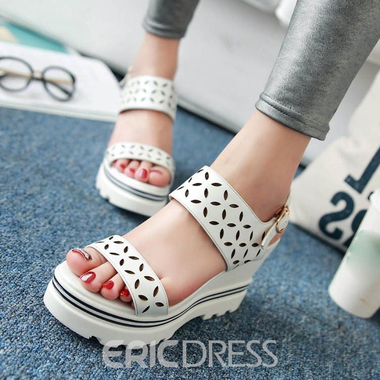 Ericdress Simple Cut out Open Toe Wedge Sandals