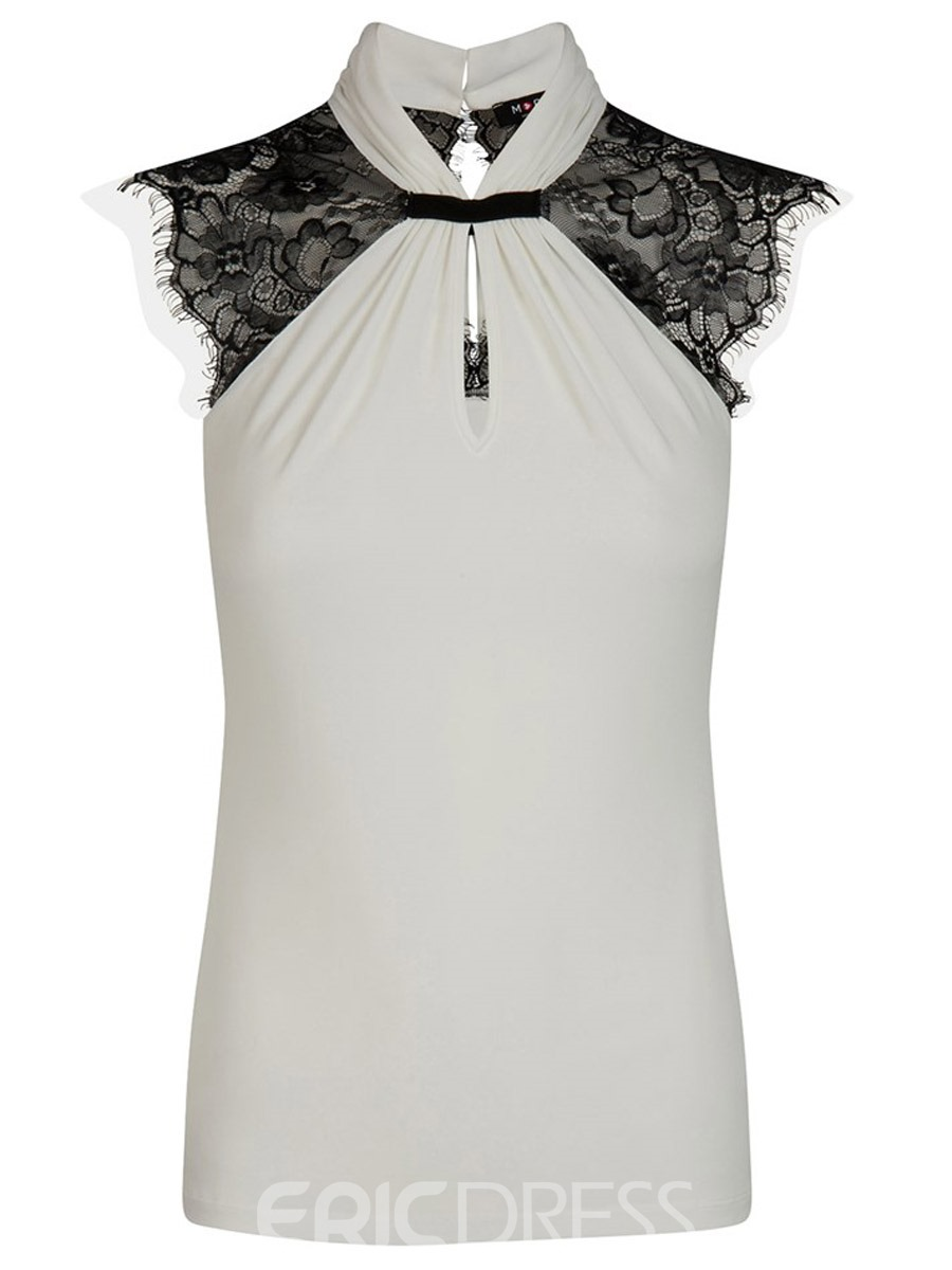 Ericdress Slim Color Block Lace Pleated Blouse