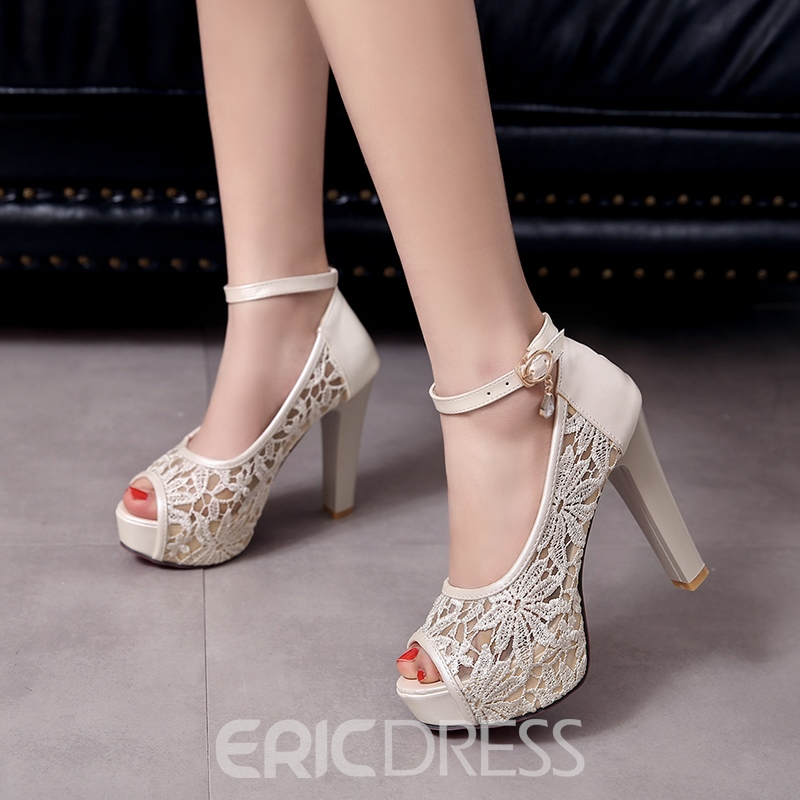 Ericdress Mesh Patchwork Ankle Strap Chunky Sandals