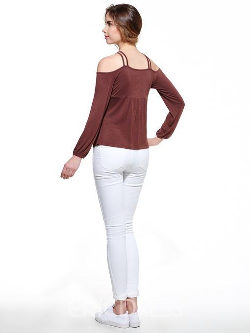 Ericdress Slim Off-Shoulder T-Shirt