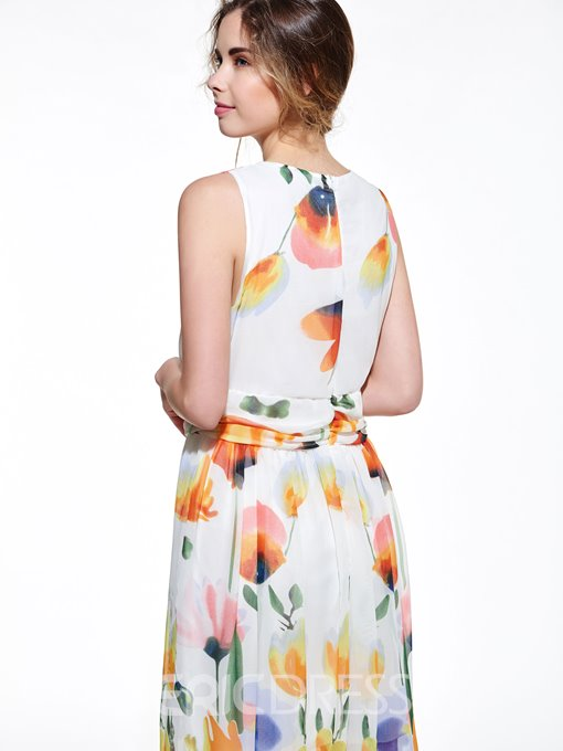 Ericdress Print V-Neck Sleeveless Maxi Dress