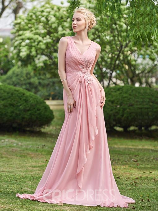 Ericdress V Neck A Line Long Bridesmaid Dress