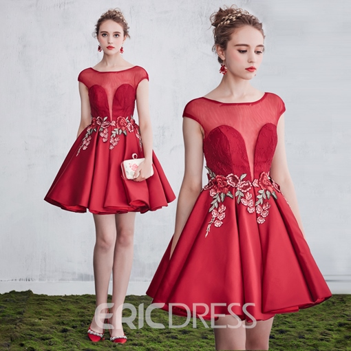 Ericdress A-Line Bateau Embroidery Lace Short Cocktail Dress