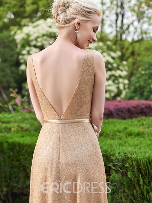 Ericdress V Neck Sashes Sequins Long Bridesmaid Dress