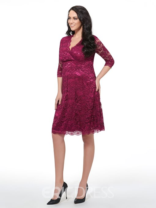 Ericdress Cross V-Neck Pleated Hollow Lace Dress