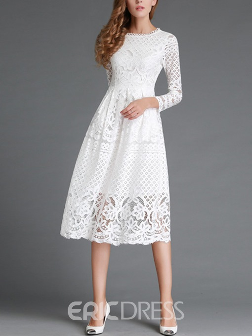 Ericdress Soild Color Three-Quarter Knee-Length Lace Dress