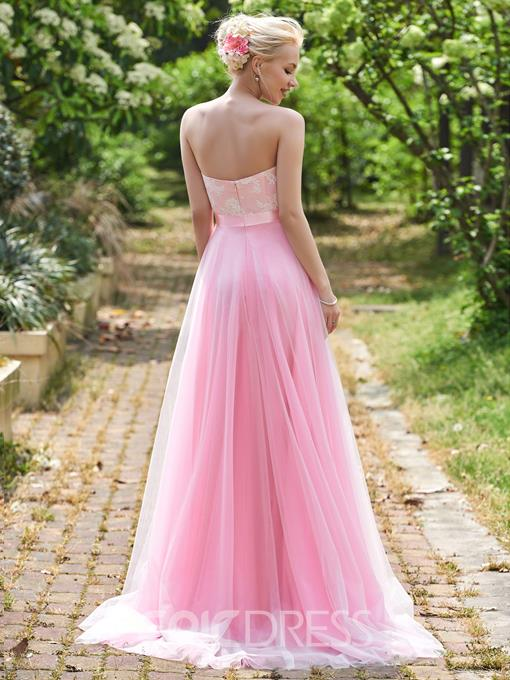 Ericdress Sweetheart A Line Long Lace Bridesmaid Dress