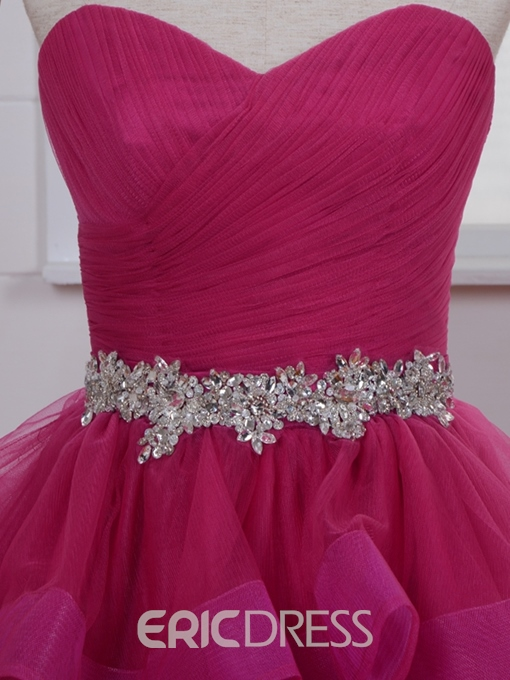 Ericdress A-Line Jewel Neck Crystal Pleats Sashes Short Homecoming Dress