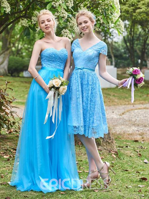 Ericdress Short Sleeves Lace Knee Length Bridesmaid Dress