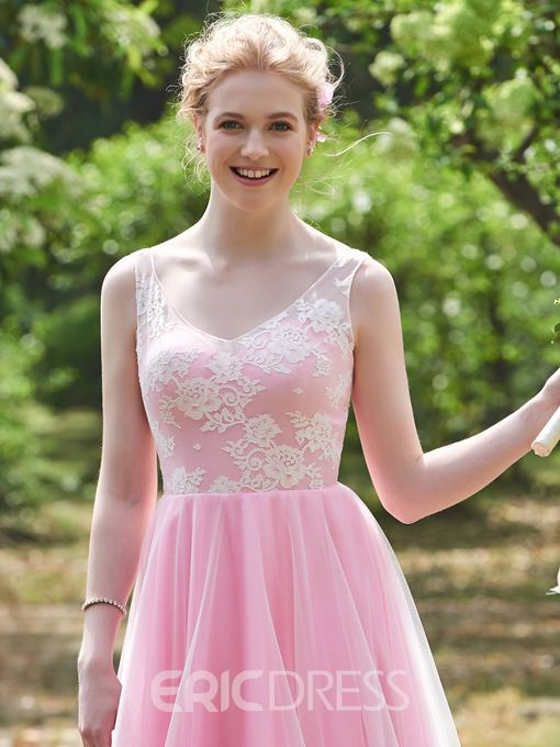 Ericdress Straps Lace Top Long Bridesmaid Dress