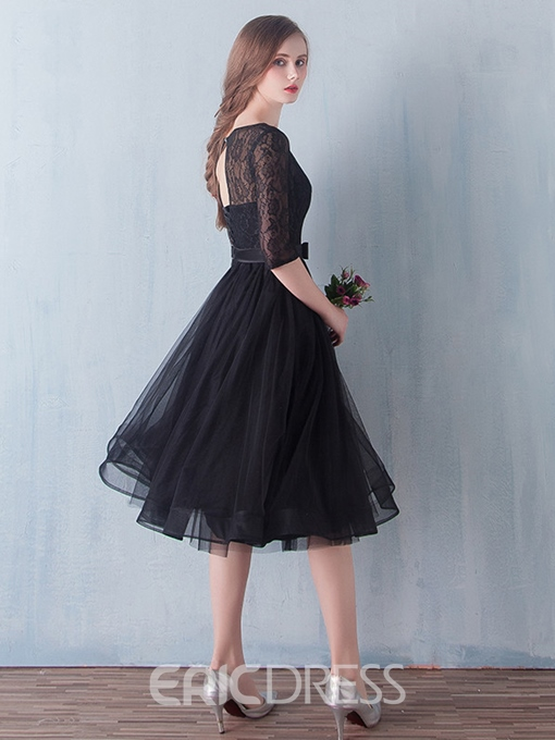 Ericdress A-Line Scoop Half Sleeves Lace Sashes Tea-Length Prom Dress