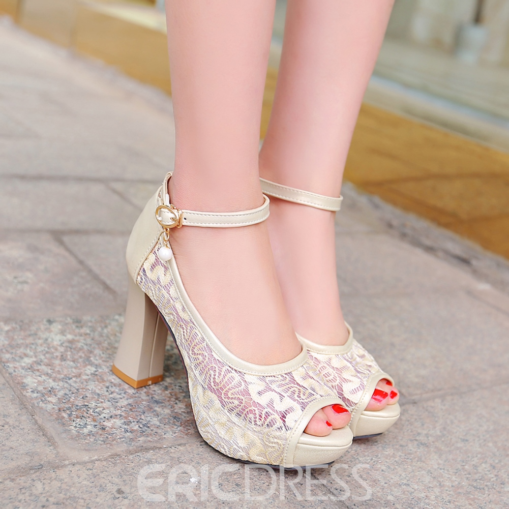 Ericdress Mesh Peep Toe Chunky Sandals
