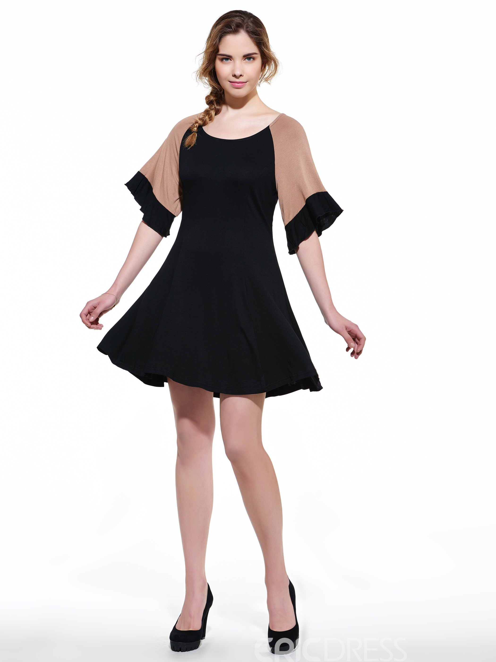 8762bd72590 Plus Size Color Block Ruffle Sleeves Casual Dress 11388357 ...