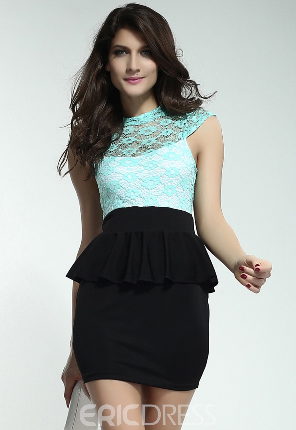 Celestial Coral Green Floral Lace Blue Peplum Dress