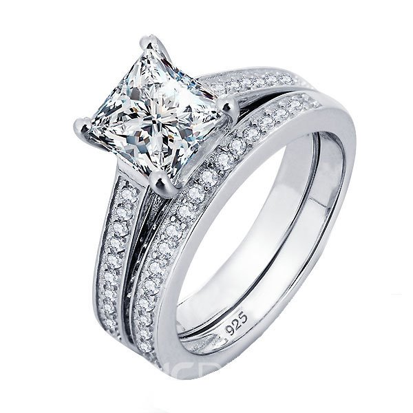 MarkChic Princess Cut Engagement Ring Bridal Set