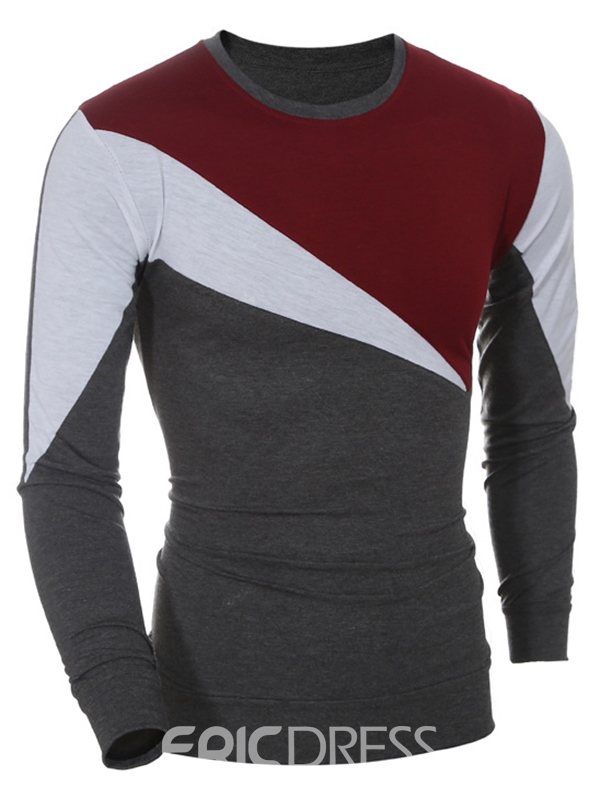 Ericdress Long Sleeve Color Block Casual Men's T-Shirt