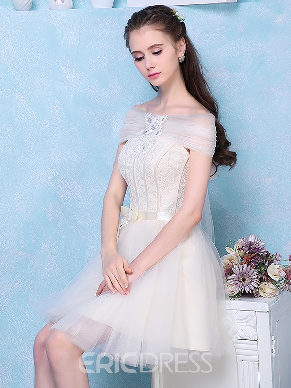 Ericdress A-Line Off-the-Shoulder Appliques Bowknot Crystal Lace Sashes Homecoming Dress